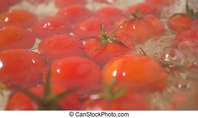 Boiling red tomatoes with leaves