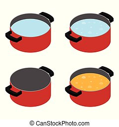 Boiling soup in cooking pot