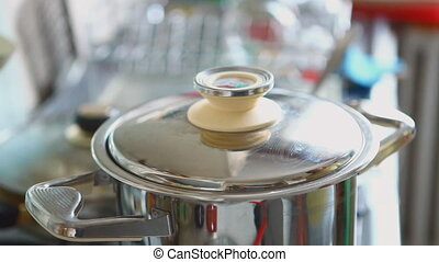 Boiling soup - Stirring of boiling meat soup