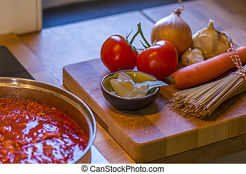 boiling spaghetti sauce - spaghetti ingredients with part of...