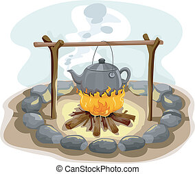 Boiling Water Camp Fire - Illustration Featuring a Kettle of...