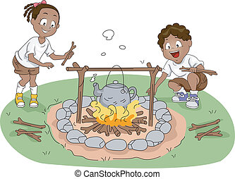 Boiling Water - Illustration of Campers / Siblings Boiling...