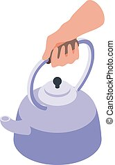Boiling water icon, isometric style