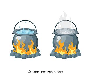 Boiling water in a cauldron, vector in flat style