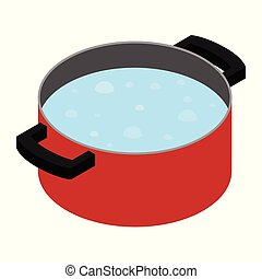 Boiling water in cooking pot
