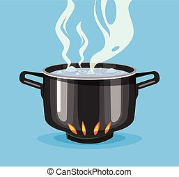 Boiling water in pan. Big black pot