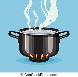 Boiling water in pan. Big black pot