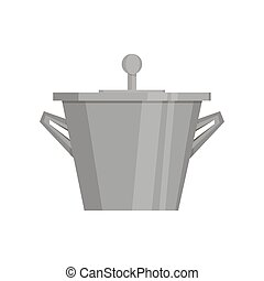 Boiling water in pan. Black cooking pot . Flat design graphics elements. Vector illustration