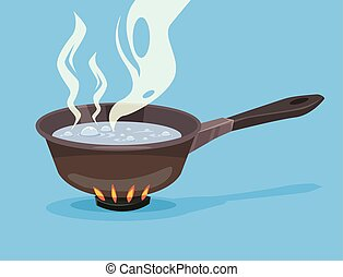 Boiling water in pan