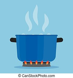 Boiling water in pan on stove in the kitchen - Boiling water...