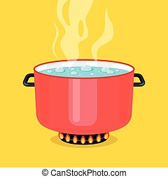 Boiling water in pan. Red cooking pot on stove with water and steam. Flat design graphic elements. Vector illustration