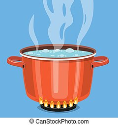 Boiling water in pan.