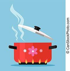 Boiling water in pan