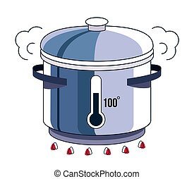 Boiling water in pot process isolated on white