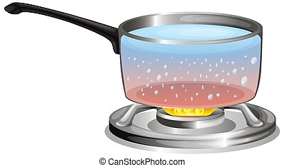 Boiling water in the pot