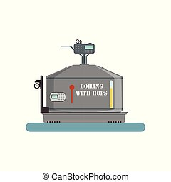 Boiling with hops tank, beer brewing process vector Illustration on a white background