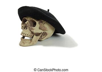 boina negra, cráneo
