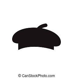 boina negra, icono, blanco, plano