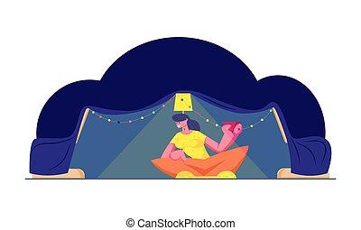 boire, amusement, heureux, fetes, noël, tente, tea., lampe, café, loisir, illustration, plat, jeune, vecteur, vacances, séance, maison, confortable, enfant, femme, guirlande, ou, avoir, dessin animé