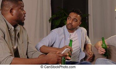 boire, bière, amis, conversation, maison, mâle