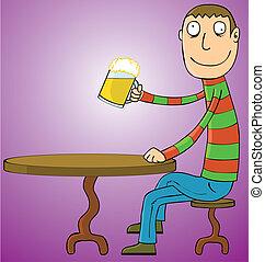 boire, bière, homme