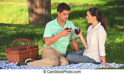 boire, couple, vin rouge