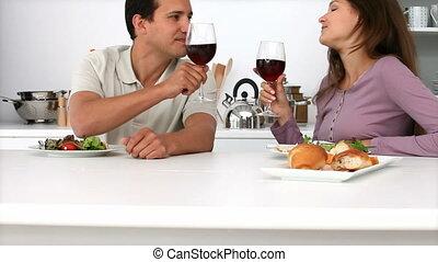 boire, couple, vin, rouges, jeune