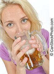 boire, femme, bière