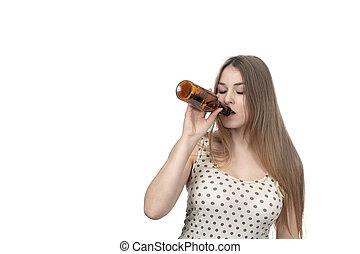 boire, femme, bouteille
