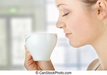 boire, femme, café, blonds