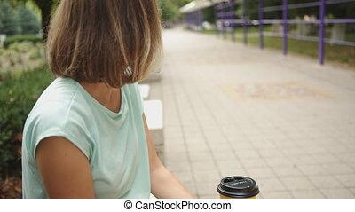 boire, femme, café