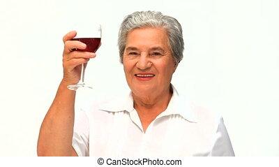 boire, femme, quelques-uns, vin rouge