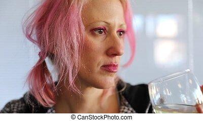 boire, femme, vin