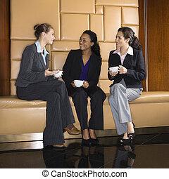 boire, femmes affaires, coffee.