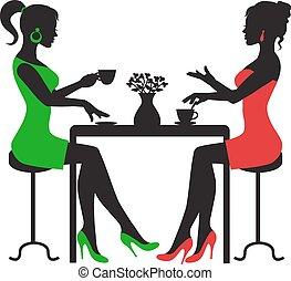 boire, femmes, café, deux