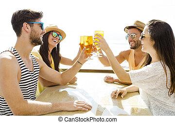 boire, froid, amis, bière