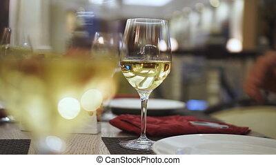 boire, gens, vin, restaurant