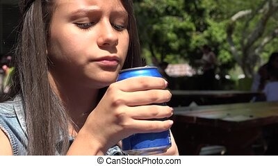 boire, girl, soif, assoiffé