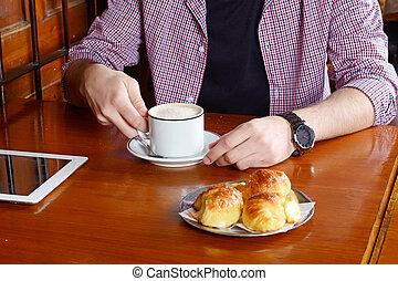 boire, homme, coffee., tablette, numérique