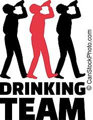 boire, hommes, trois, équipe