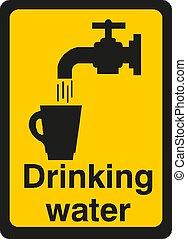 boire, illustration, vecteur, signe eau, eps10
