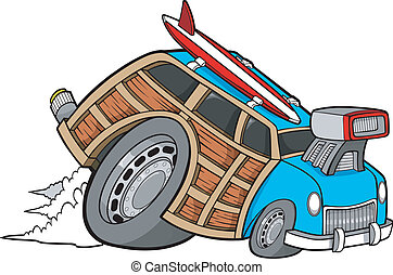 boisé, coureur, vecteur, chariot, voiture