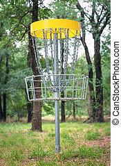 boisé, golf, cible, parc, disque, panier