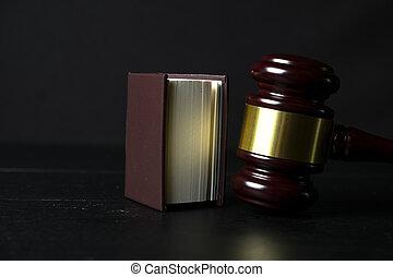 bois, à côté de, marteau, livre, fond, juge