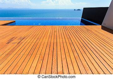 bois, à côté de, plancher, piscine