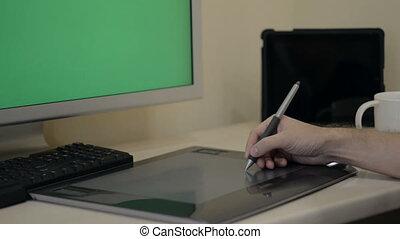 bois, écran, moderne, haut, appareils, informatique, concevoir, bureau, railler
