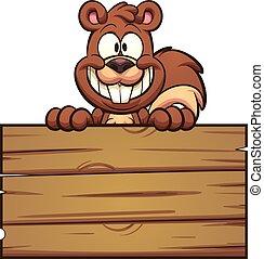 bois, écureuil, signe