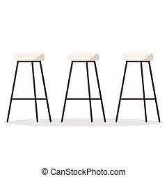 bois, élevé, vecteur, métal, illustration, chaises cuisine, confortable, confortable, seat., rembourré, ou, barre