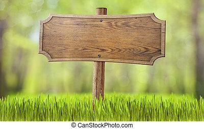 bois, été, herbe, forêt, signe
