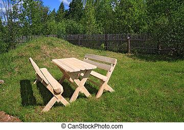 bois, été, parc, meubles